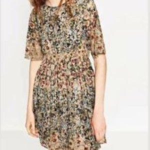 ZARA Floral Lace Lined Short Sleeve Mini Dress